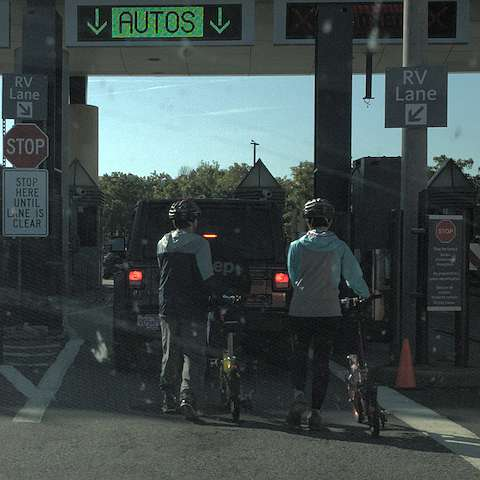Cyclists at the border