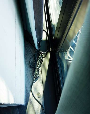 wires hidden behind the curtain