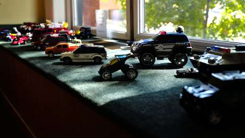 Toy vehicles in the toddler area